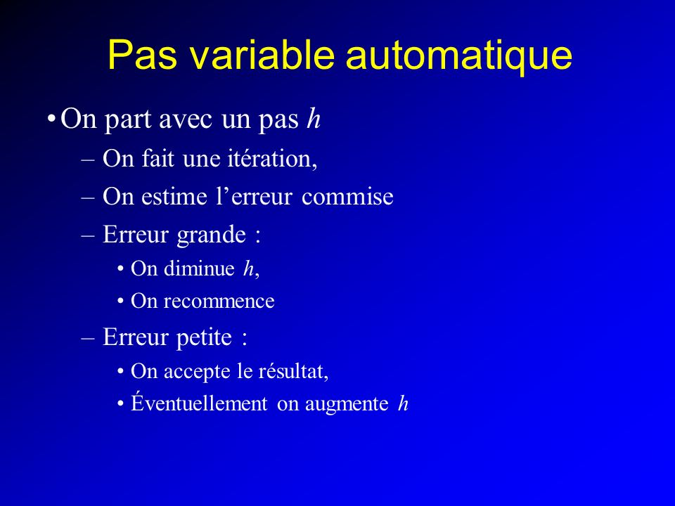 Pas variable automatique