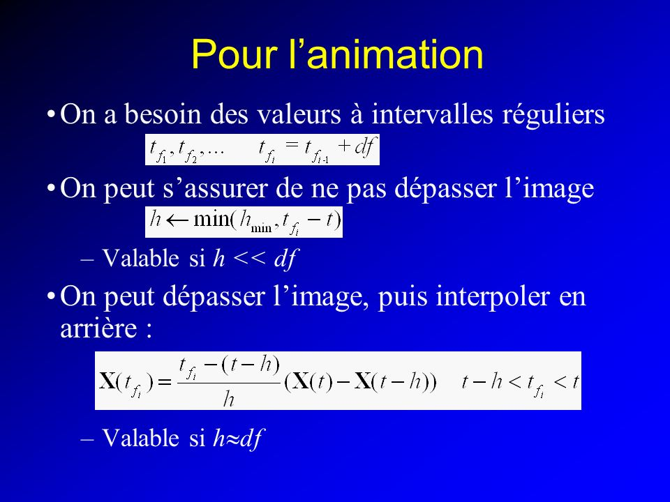 Pour l'animation On a besoin des valeurs à intervalles réguliers
