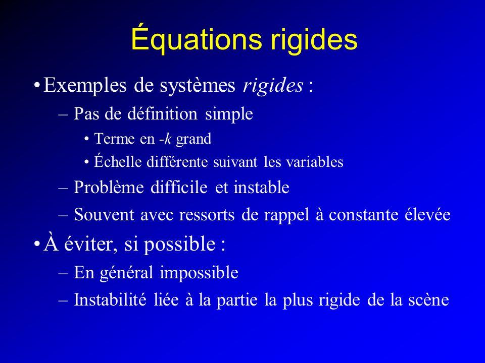 Équations rigides Exemples de systèmes rigides :