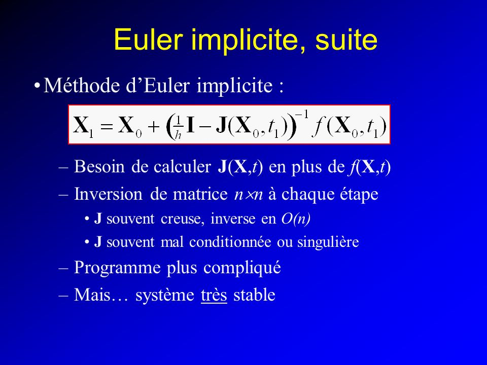 Euler implicite, suite Méthode d'Euler implicite :