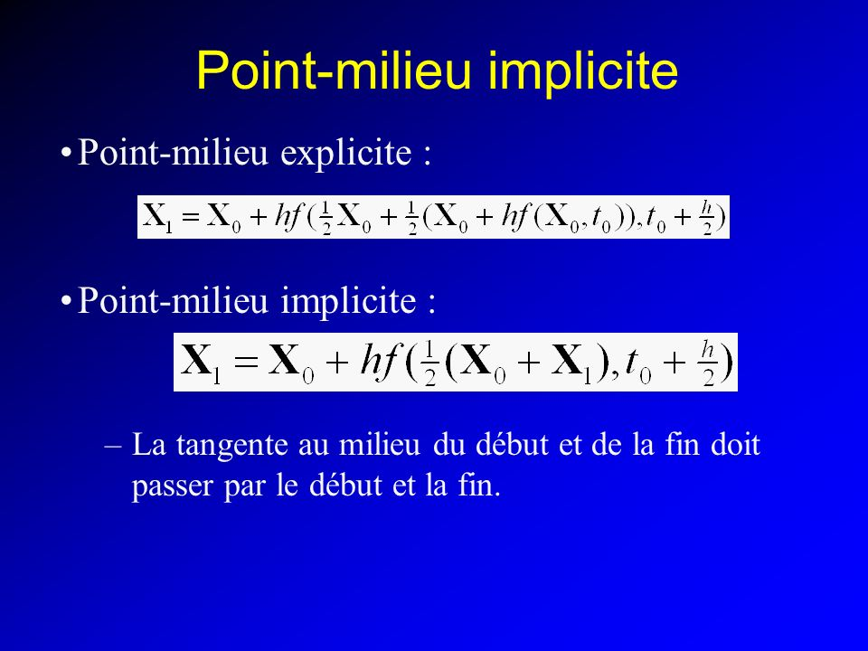 Point-milieu implicite