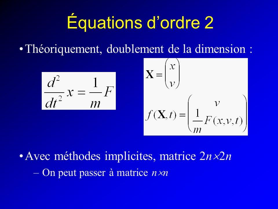 Équations d'ordre 2 Théoriquement, doublement de la dimension :