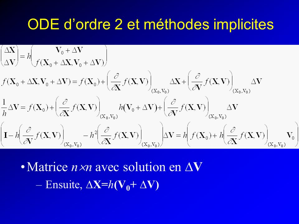 ODE d'ordre 2 et méthodes implicites
