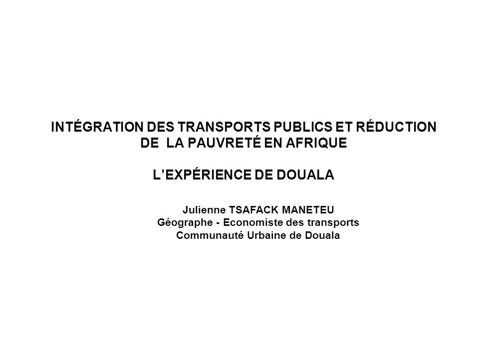- Julienne TSAFACK MANETEU. Géographe - Economiste des transports. Communauté Urbaine de Douala.