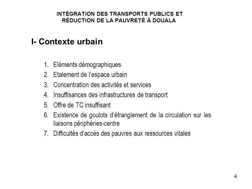I- Contexte urbain Eléments démographiques