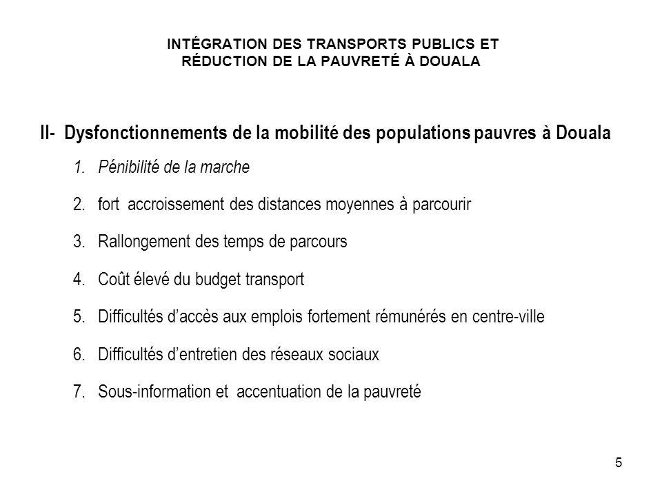II- Dysfonctionnements de la mobilité des populations pauvres à Douala