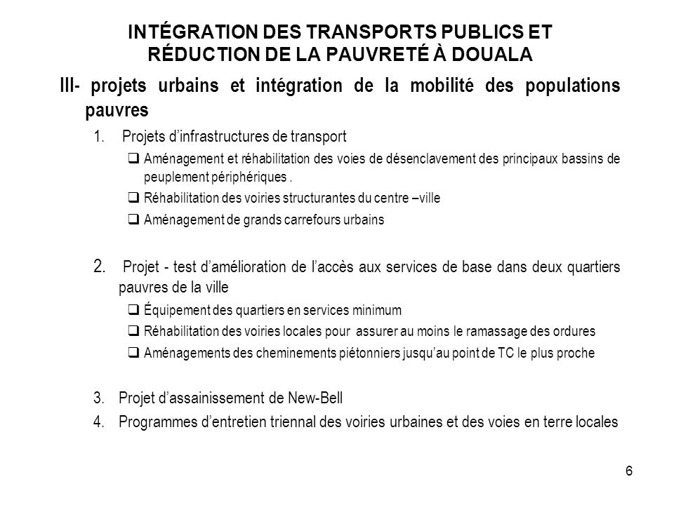 INTÉGRATION DES TRANSPORTS PUBLICS ET RÉDUCTION DE LA PAUVRETÉ À DOUALA
