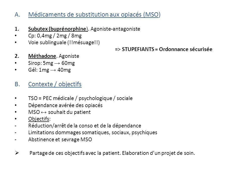 Médicaments de substitution aux opiacés (MSO)