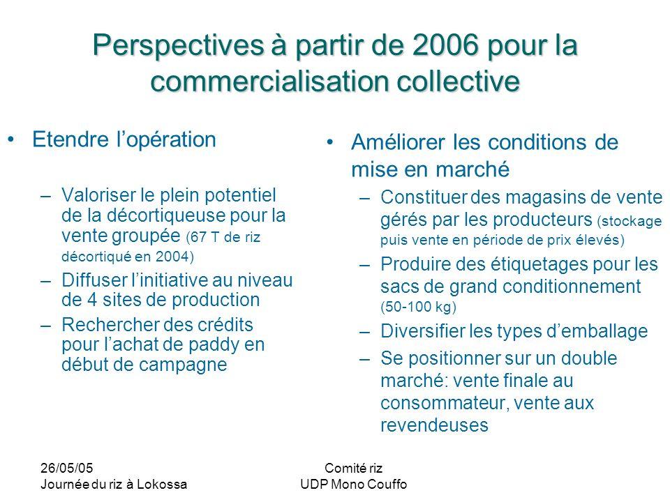 Perspectives à partir de 2006 pour la commercialisation collective
