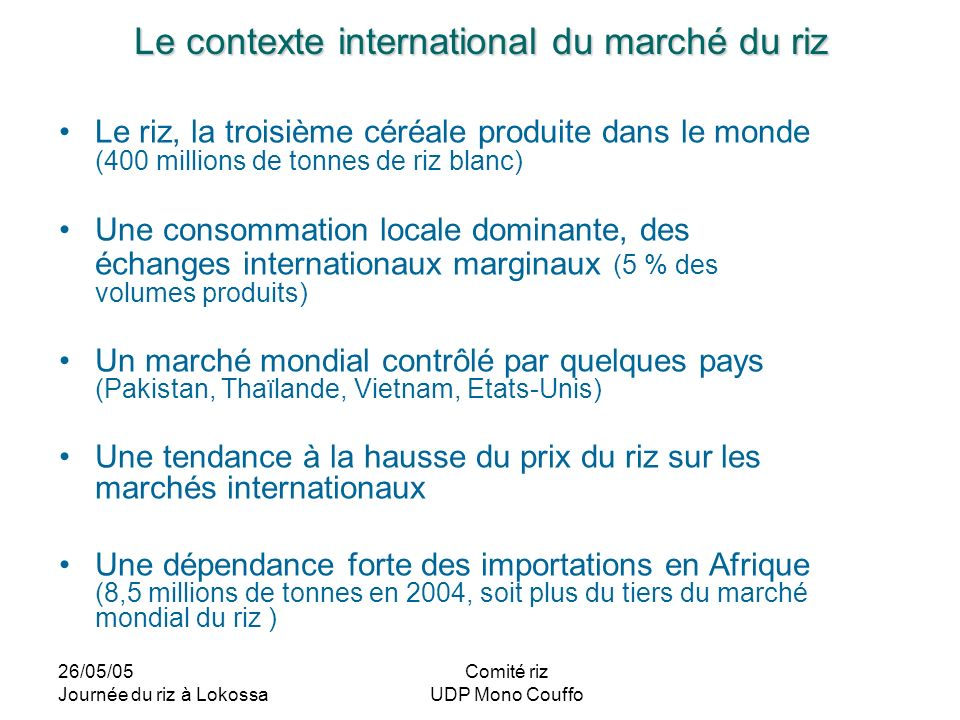 Le contexte international du marché du riz