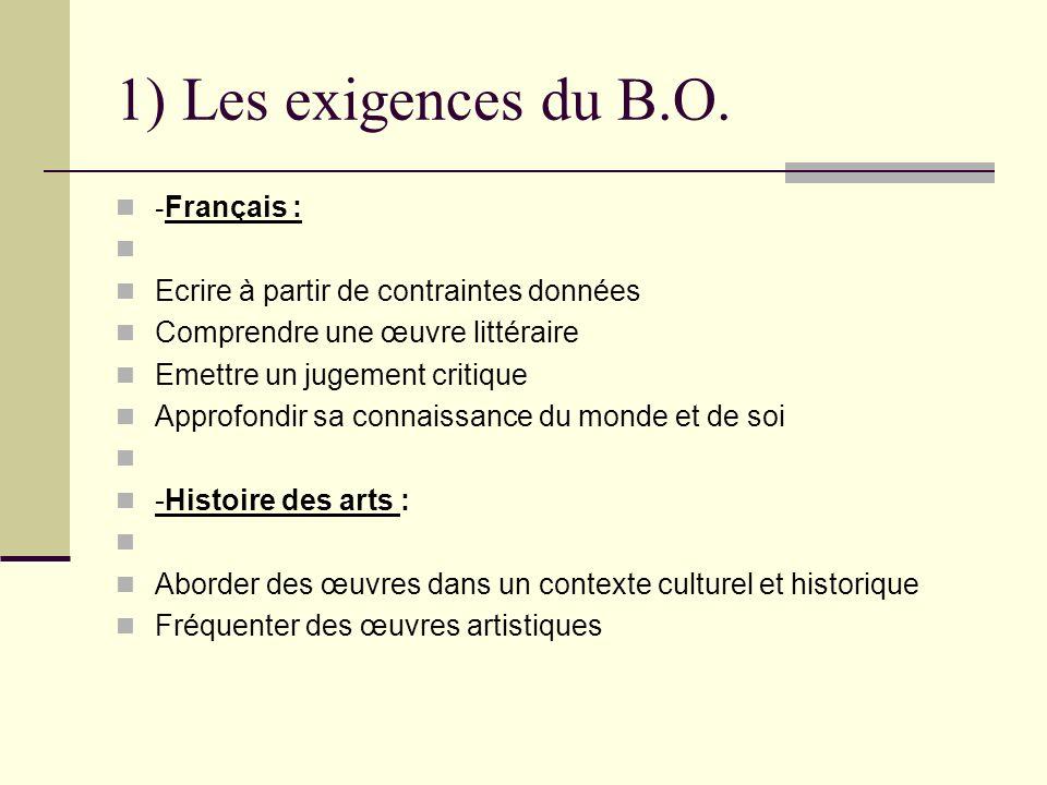 1) Les exigences du B.O. -Français :