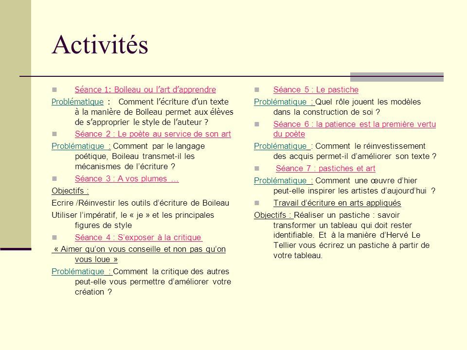 Activités Séance 1: Boileau ou l'art d'apprendre