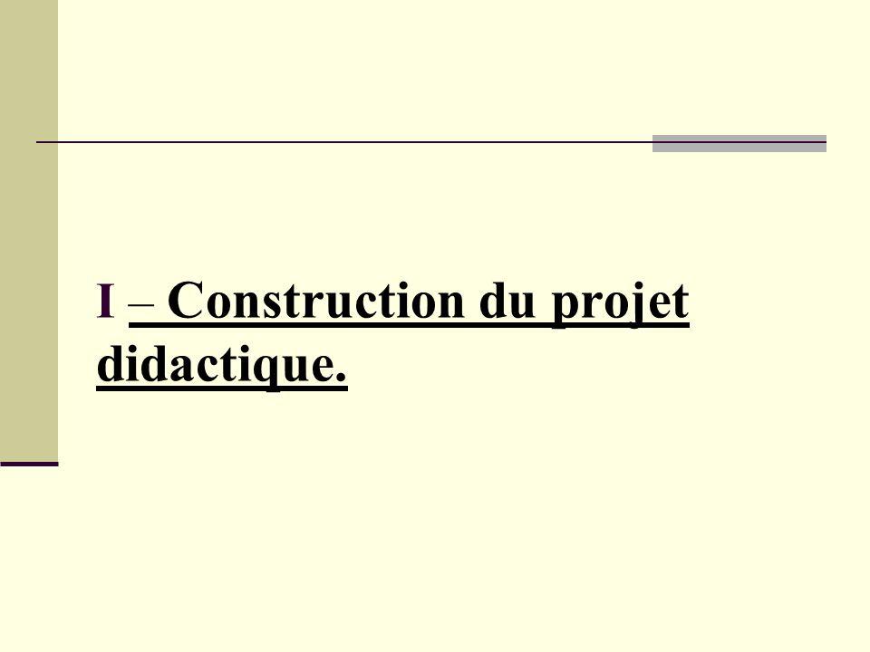 I – Construction du projet didactique.