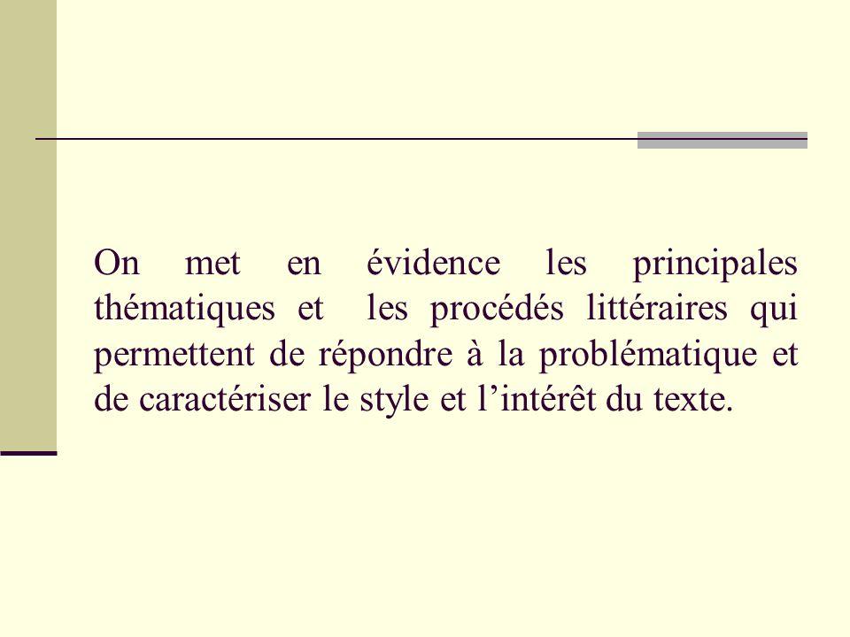 On met en évidence les principales thématiques et les procédés littéraires qui permettent de répondre à la problématique et de caractériser le style et l'intérêt du texte.