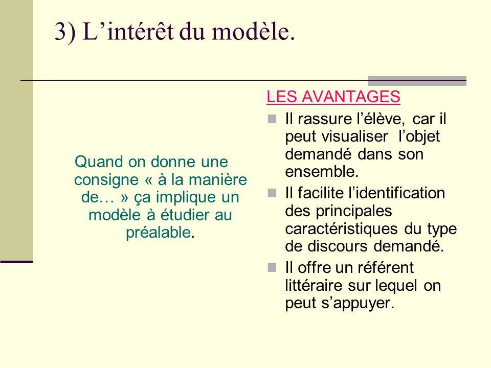 3) L'intérêt du modèle. LES AVANTAGES