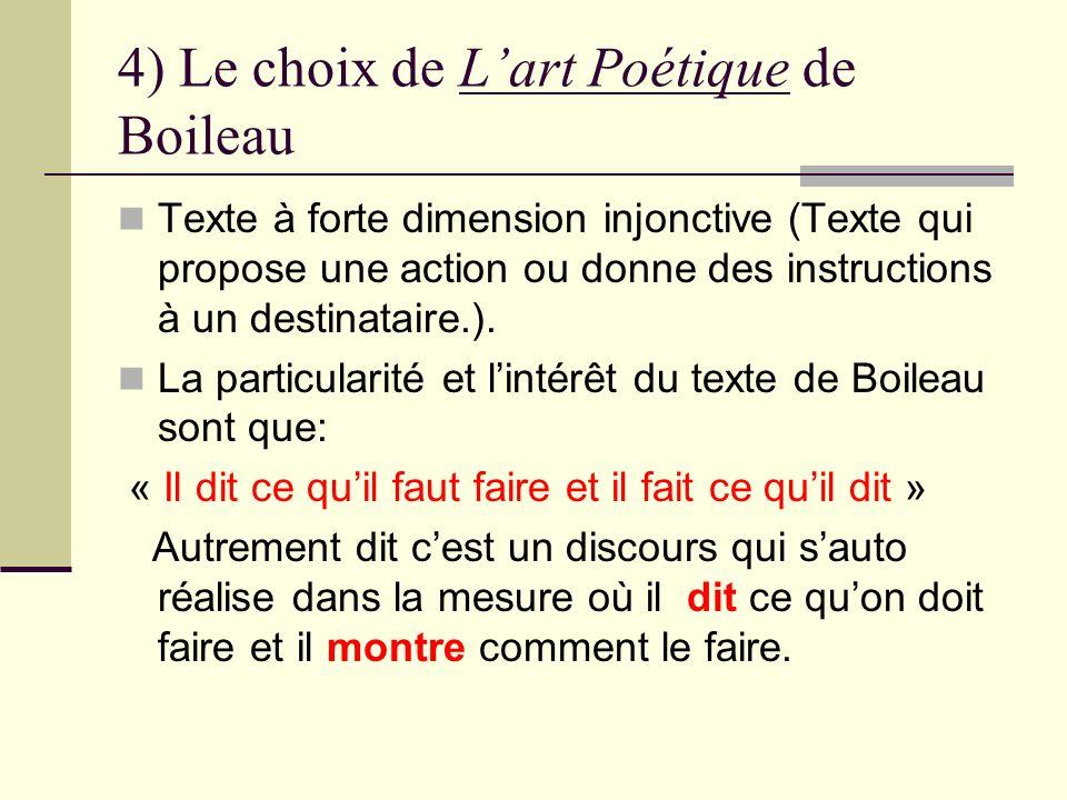 4) Le choix de L'art Poétique de Boileau