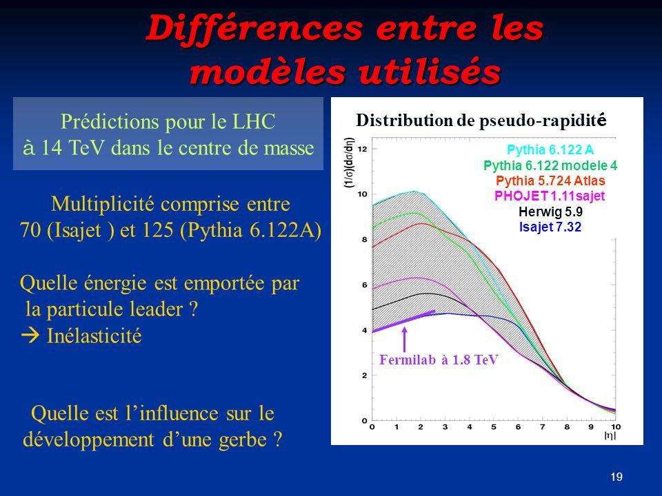 Différences entre les modèles utilisés