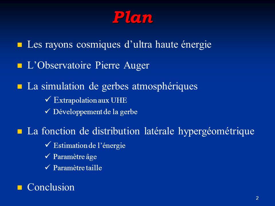 Plan Les rayons cosmiques d'ultra haute énergie