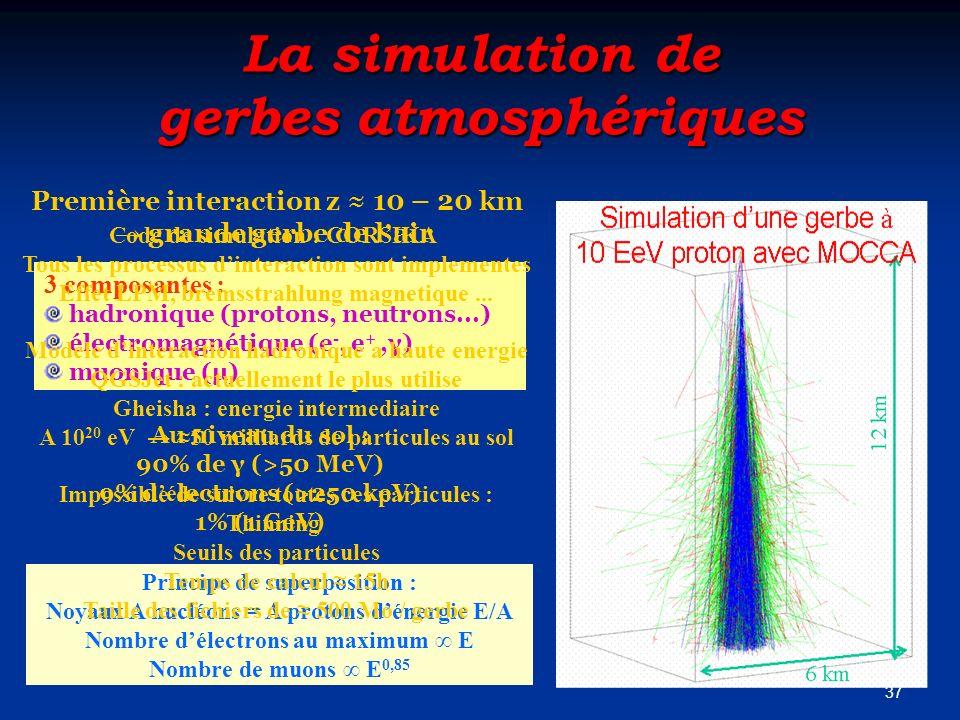 La simulation de gerbes atmosphériques