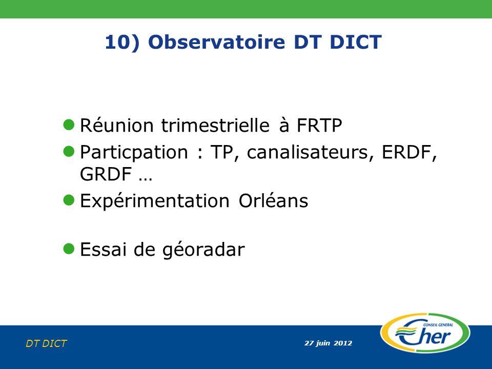 10) Observatoire DT DICT Réunion trimestrielle à FRTP