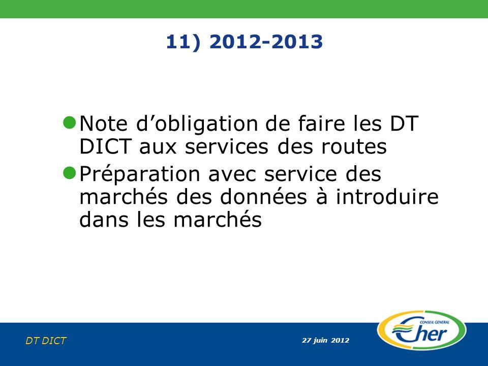 Note d'obligation de faire les DT DICT aux services des routes
