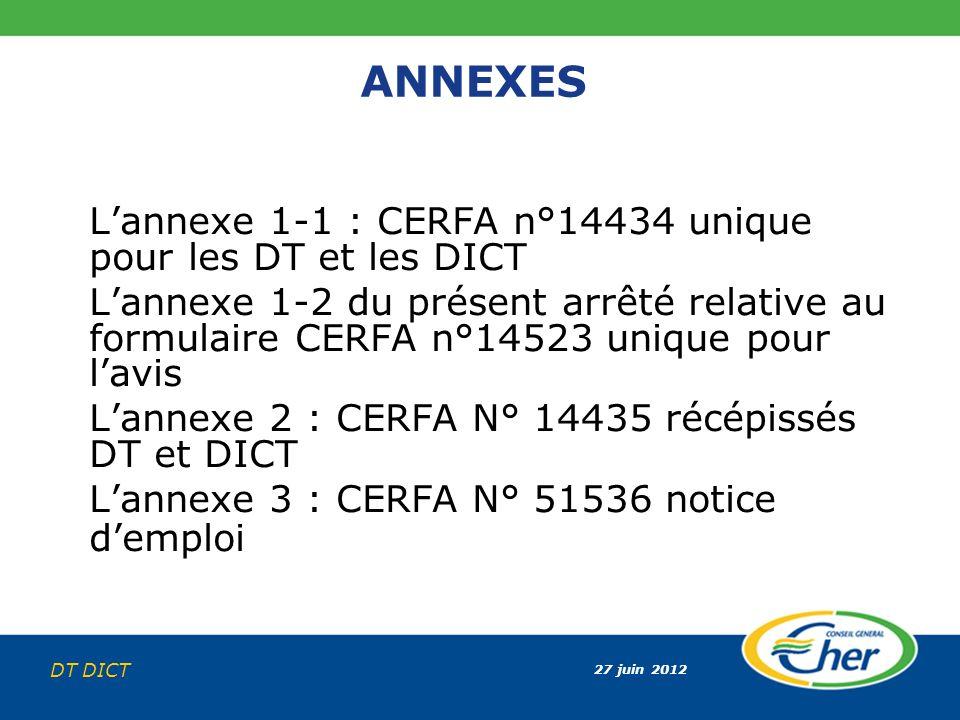 ANNEXES L'annexe 1-1 : CERFA n°14434 unique pour les DT et les DICT