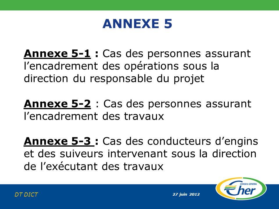 ANNEXE 5 Annexe 5-1 : Cas des personnes assurant l'encadrement des opérations sous la direction du responsable du projet.