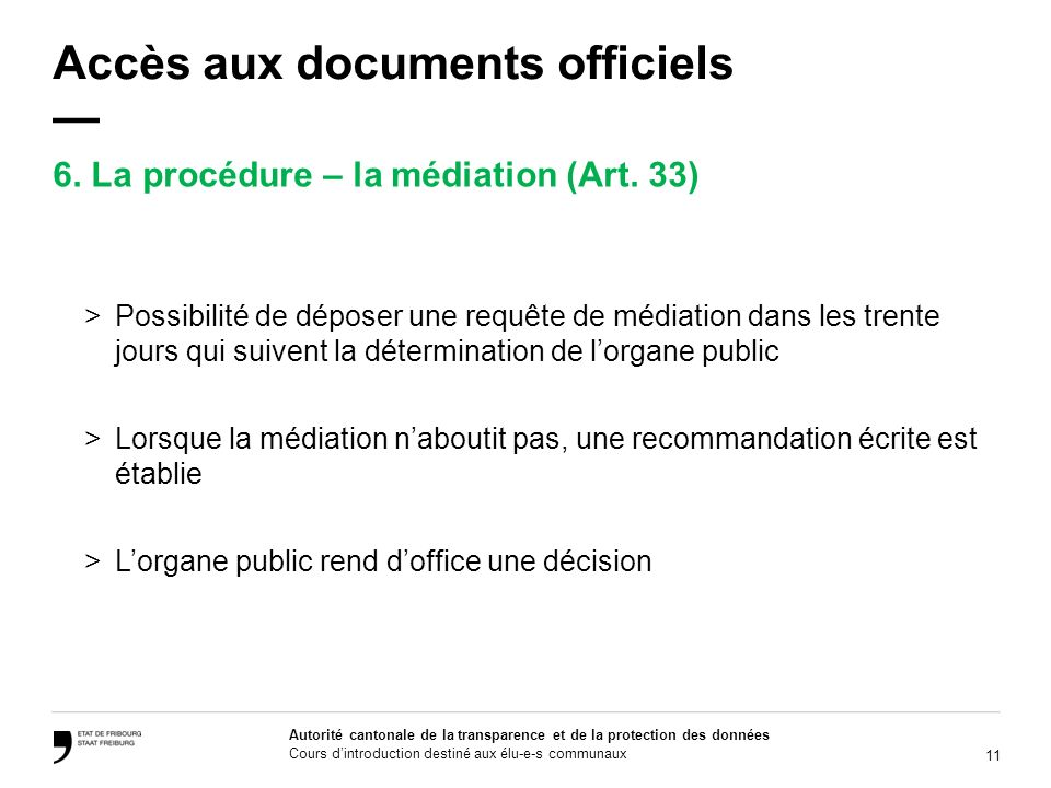 Accès aux documents officiels —