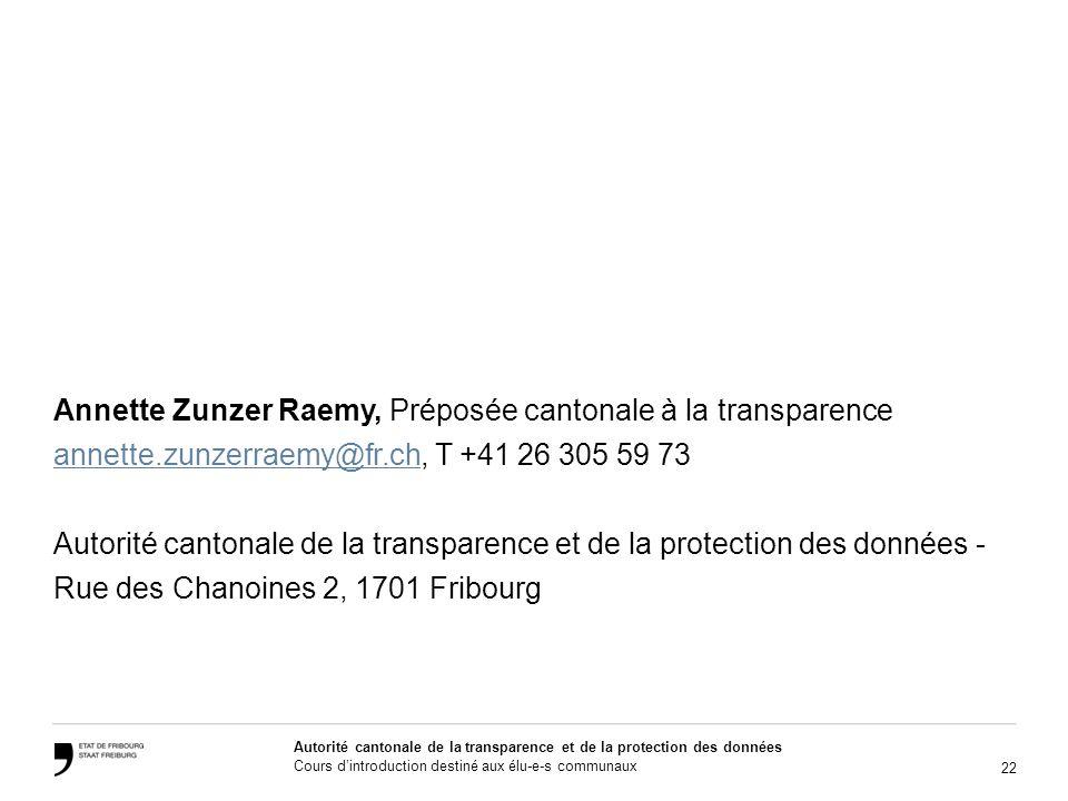 Annette Zunzer Raemy, Préposée cantonale à la transparence