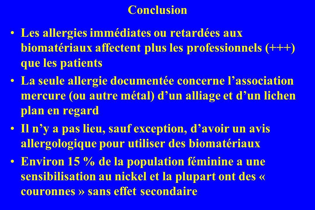 Conclusion Les allergies immédiates ou retardées aux biomatériaux affectent plus les professionnels (+++) que les patients.