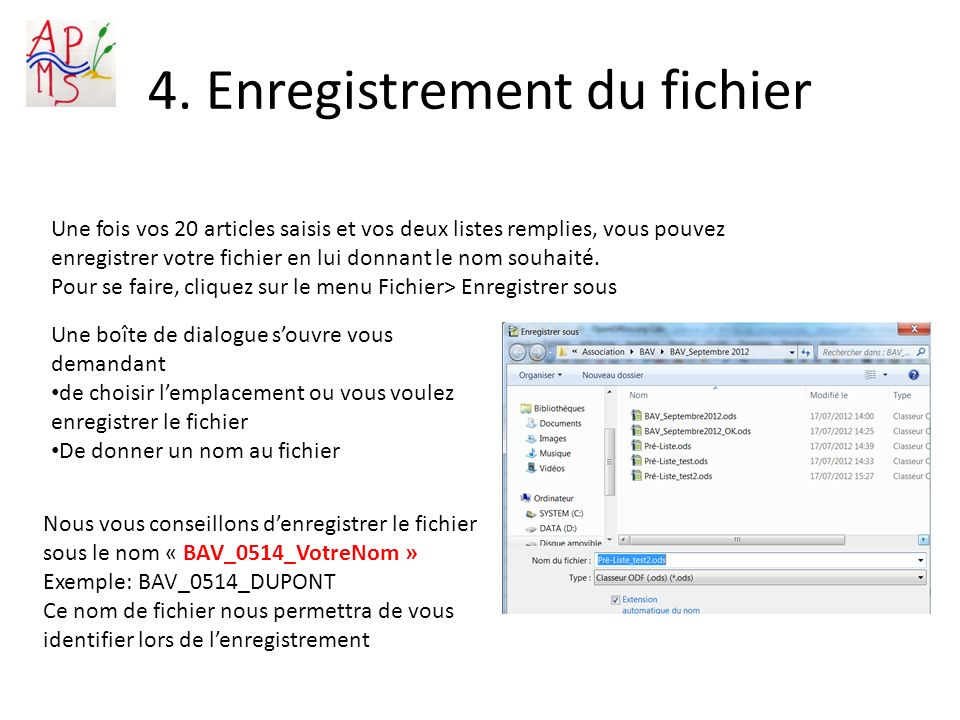 4. Enregistrement du fichier