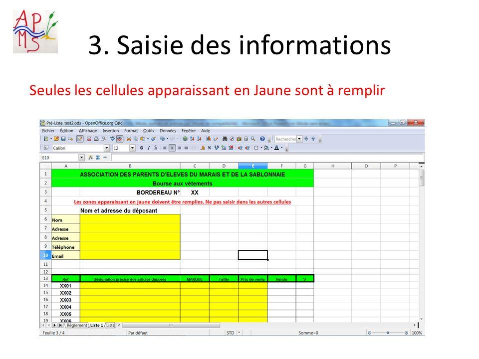 3. Saisie des informations