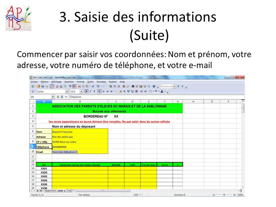 3. Saisie des informations (Suite)