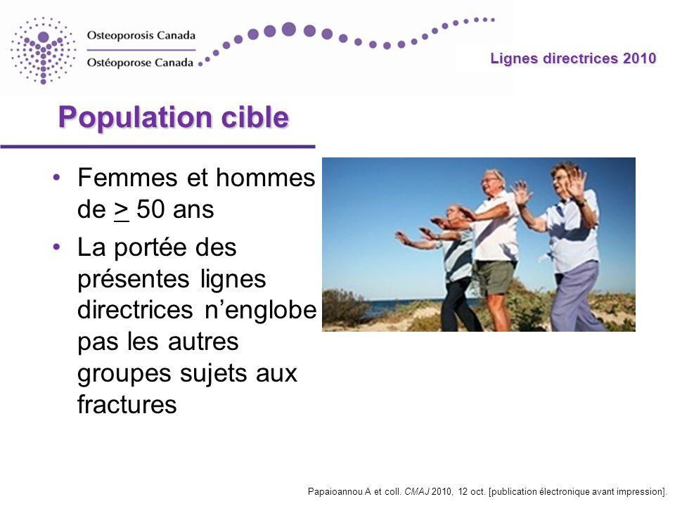 Population cible Femmes et hommes de > 50 ans