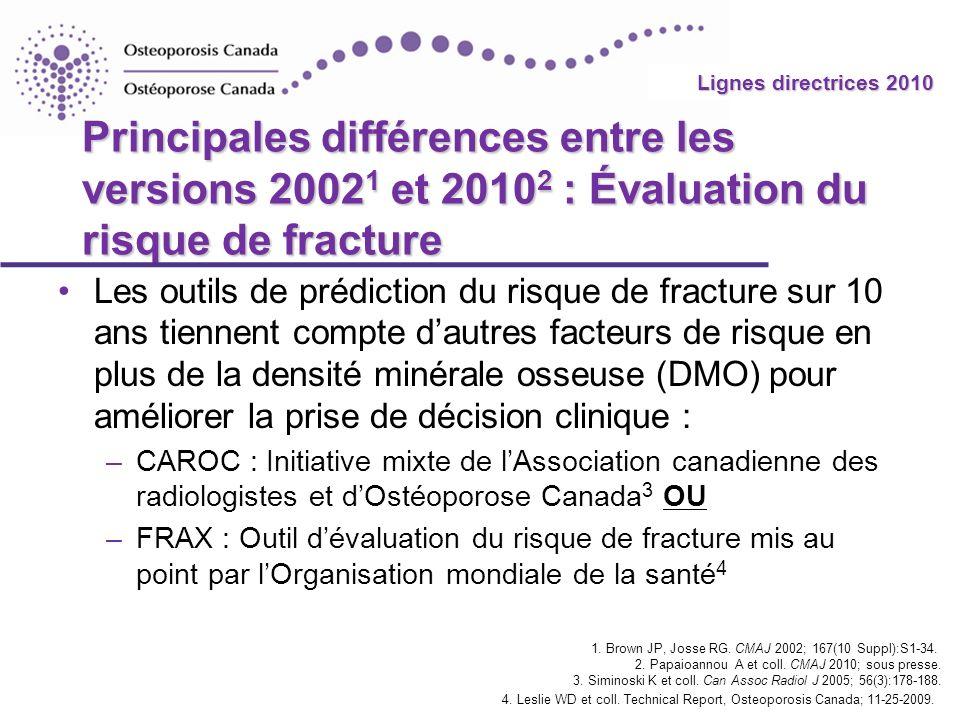 Principales différences entre les versions 20021 et 20102 : Évaluation du risque de fracture