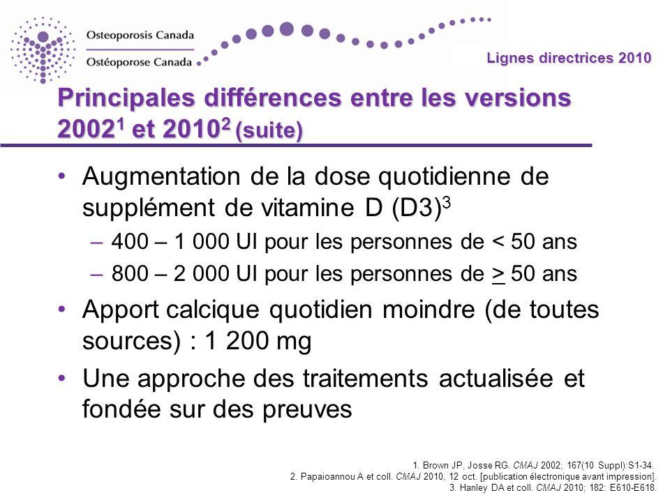 Principales différences entre les versions 20021 et 20102 (suite)