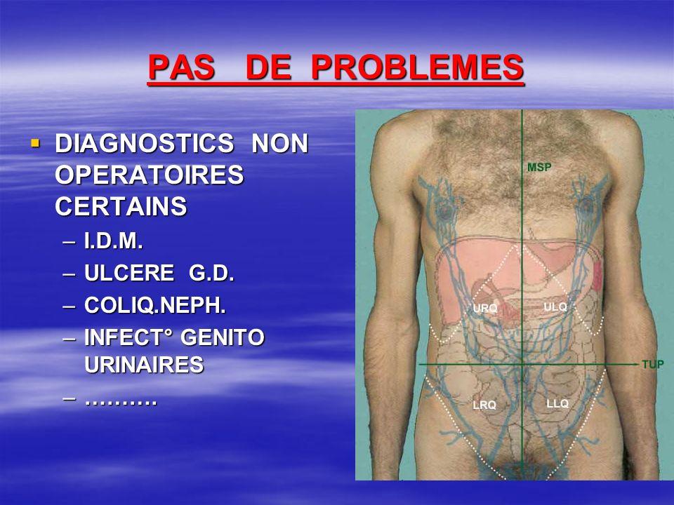 PAS DE PROBLEMES DIAGNOSTICS NON OPERATOIRES CERTAINS I.D.M.