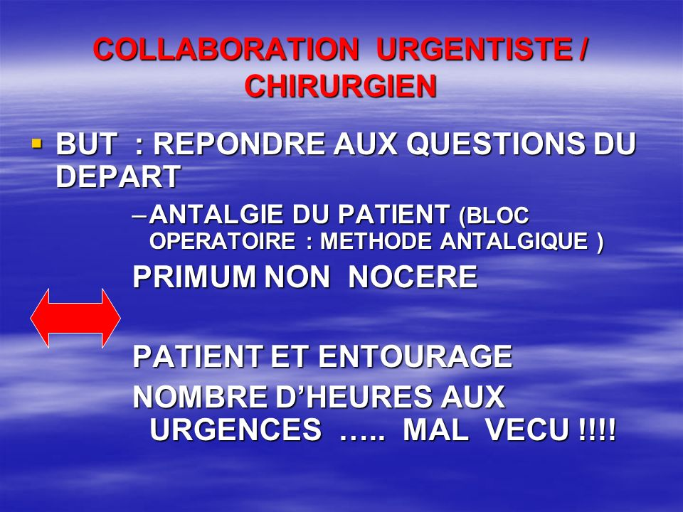 COLLABORATION URGENTISTE / CHIRURGIEN
