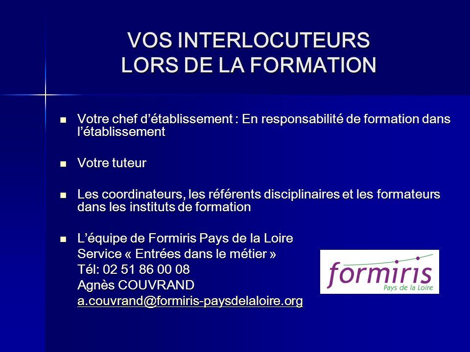 VOS INTERLOCUTEURS LORS DE LA FORMATION