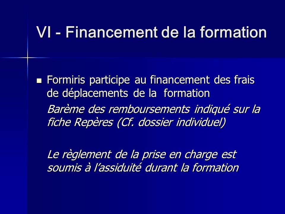 VI - Financement de la formation