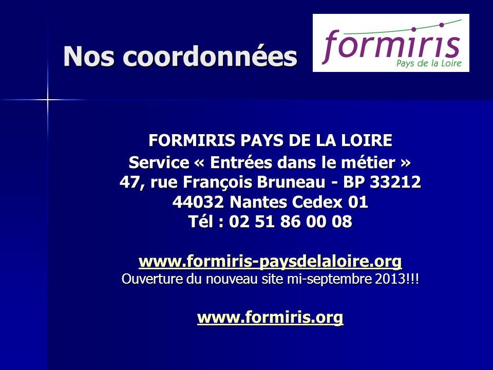 Nos coordonnées FORMIRIS PAYS DE LA LOIRE