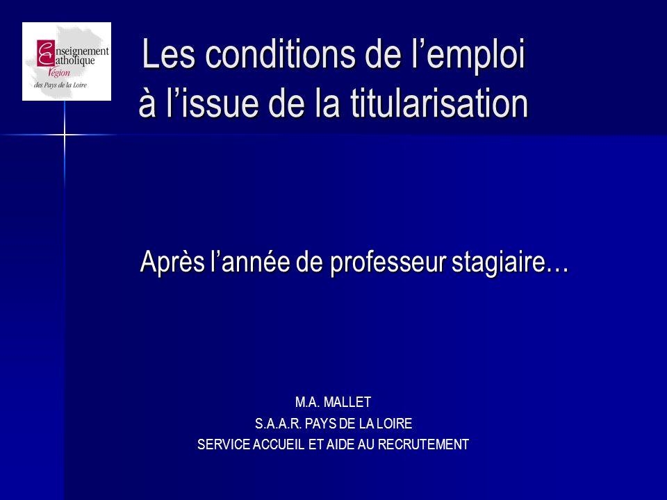 Les conditions de l'emploi à l'issue de la titularisation