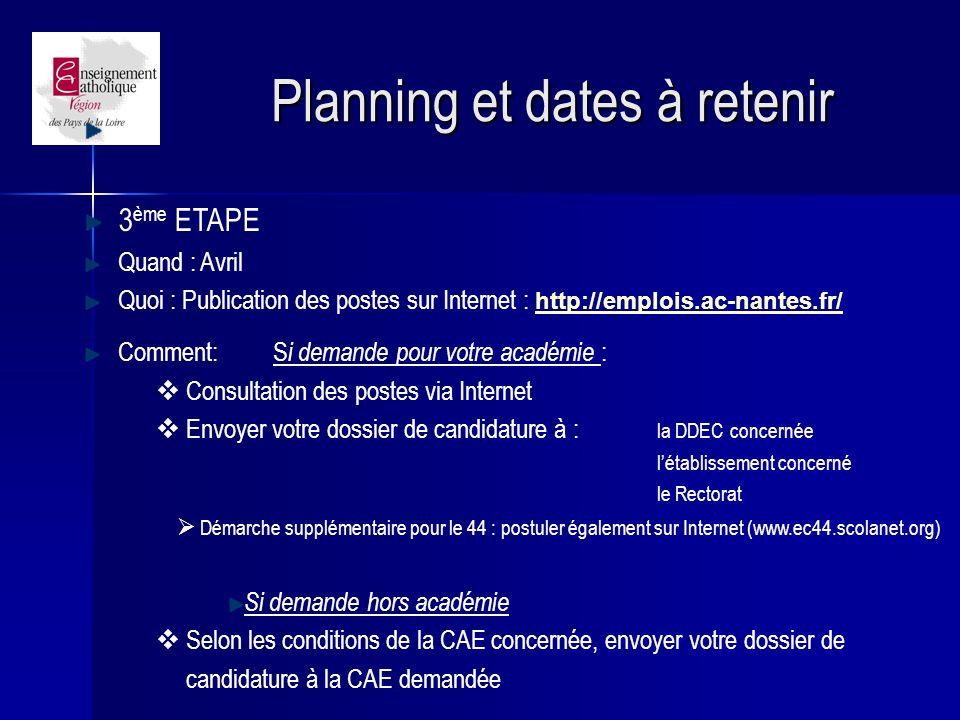 Planning et dates à retenir