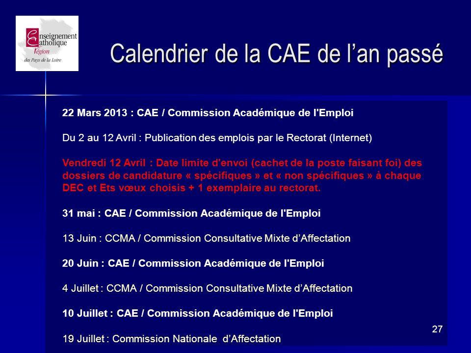 Calendrier de la CAE de l'an passé