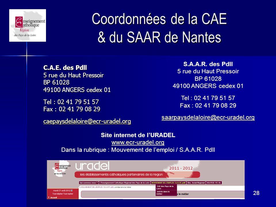 Coordonnées de la CAE & du SAAR de Nantes