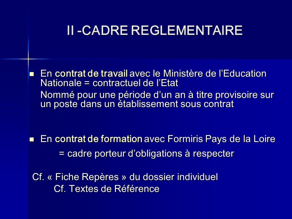 II -CADRE REGLEMENTAIRE