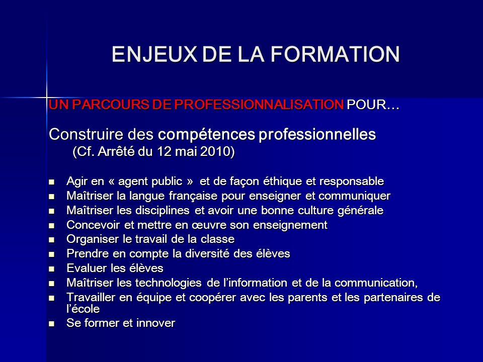 ENJEUX DE LA FORMATION Construire des compétences professionnelles