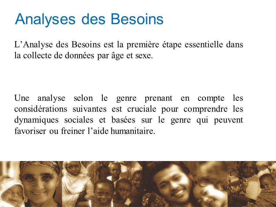 Analyses des Besoins L'Analyse des Besoins est la première étape essentielle dans la collecte de données par âge et sexe.
