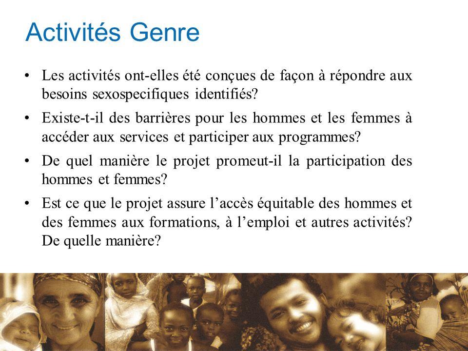 Activités Genre Les activités ont-elles été conçues de façon à répondre aux besoins sexospecifiques identifiés