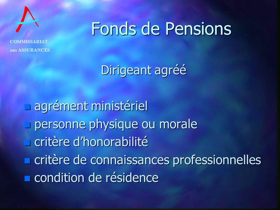 Fonds de Pensions Dirigeant agréé agrément ministériel